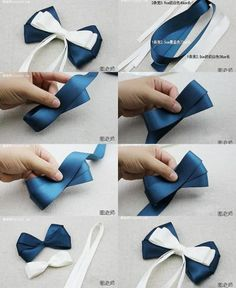 How to make your own beautiful bow hairpin step by step DIY instructions Diy Lace Ribbon Flowers, Diy Ribbon, Ribbon Crafts, Ribbon Bows, Fabric Flowers, Felt Hair Accessories, Handmade Accessories, Making Hair Bows, Diy Hair Bows