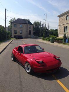 Red NA Mazda Miata with fender flares by Romango3