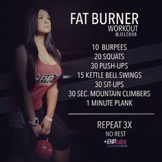 """2015 is the year of NO EXCUSES- Try this Fat Burner Workout by @EHPlabs Athlete JELZ! - • Kettle Bell can be replaced with Jumping Jacks (or just do…"""