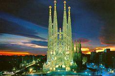The Gaudi Cathedral in Barcelona, Spain. Sagra da Familia.