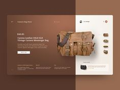 Camera Bag Store by Sergio Arteaga on Dribbble Ui Animation, Website Design Inspiration, Web Layout, Layout Design, Ui Design Mobile, Lightroom, Creative Web Design, Catalog Design, Social Media Design