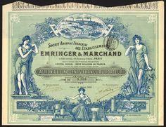 France: S.A. Francaise des Etablissements Emringer & Marchand, 500 franc share, Paris 1899