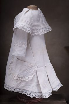 Antique Original White Pique Dress for French Bebe Jumeau Bru Steiner from respectfulbear on Ruby Lane