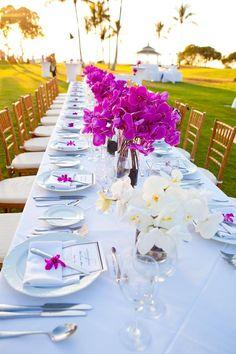 Inspiration pour un mariage fuchsia et blanc: la décoration