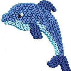 Hama bead dolphin! Pearler Bead Patterns, Perler Patterns, Pearler Beads, Bead Crafts, Diy And Crafts, Christmas Perler Beads, Pixel Beads, Hama Beads Design, Beaded Animals