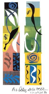 Beasts of the Sea by Henri Matisse Paper collage on canvas, currently in the collection of the National Gallery of Art, Washington, DC. During the Matisse was in poor health. Eventually by 1950 he stopped painting in favor of his paper cutouts. Henri Matisse, Matisse Kunst, Matisse Art, Matisse Paintings, Abstract Expressionism, Abstract Art, Abstract Paintings, Oil Paintings, Landscape Paintings