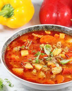 Zupa gulaszowa.  Zupa gulaszowa. Soups And Stews, Thai Red Curry, Cooking, Ethnic Recipes, Food, Eat, Kitchen, Essen, Meals