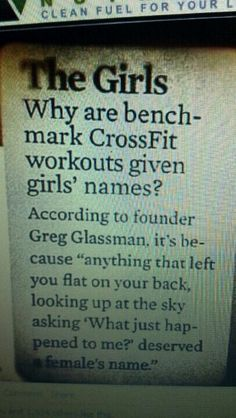 Why CrossFit benchmark workouts are given girls names ;)