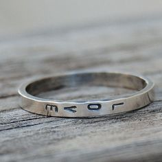 Love - Customizable Hand Stamped Ring - Sterling Silver - Custom Size on… Cute Jewelry, Jewelry Rings, Jewelry Box, Silver Jewelry, Jewelry Accessories, Silver Bracelets, Silver Earrings, Yoga Jewelry, Gold Jewellery