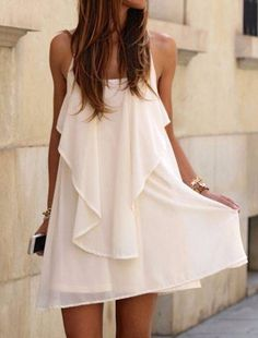 So Pretty! White  Irregular Ruffle Cross Back Sexy Mini Dress #White #Ruffle #Beach #Dresses