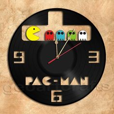 Pacman Wall Clock Vinyl Record Clock via GeoArtCrafts. Click on the image to see more!
