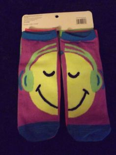 new 4 pair neon smilie face side by side women's low cut socks 4-10 No Bo music  #nobo #lowcut
