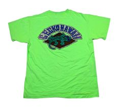 "Vintage 90s Gecko Hawaii Neon Green Shirt Condition: This shirt is in good condition with some discoloration on the front as seen in the second image. MADE IN USA Material: 100% Cotton Size: Mens Size Large Please refer to measurements for size.  Measures:Chest (armpit to armpit): 22""Sleeve (shoulder seam to sleeve end): 7""Length (back neck seam to bottom): 26"" Add us on:Twitter: @vintagemensgoodPinterest: vintagemensgoodInstagram: vintagemensgoods Note: Vintage clothing may h..."