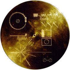 The sounds of Earth→The Voyager Golden Record. The cover of the Voyager Golden Record, which was mounted on both Voyager probes I and II and launched into the depths of space (NASA, Sep Voyager Golden Record, Carl Sagan, Sistema Solar, Cosmos, Neil Armstrong, Space And Astronomy, Our Solar System, Space Travel, Space Exploration