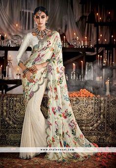 Cream Digital Print Pallu Designer Half N Half Saree