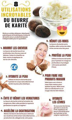 Que faire avec du beurre de karité ? Voici 18 utilisations du beurre de karité pour la peau, le visage, , les lèvres et enlever les vergetures, mais pas seulement. Le beurre de karité a aussi plein de bienfaits pour les cheveux (secs, crepus, abîmés...). comment-economiser.fr a sélectionné pour vous les meilleures recettes DIY pour prendre soin de votre corps au naturel. #beurredekarite #beurredekaritebienfaits Beauty Advice, Beauty Hacks, Face Skin Care, Body Treatments, Hair Hacks, Shea Butter, Body Care, Dog Food Recipes, Natural Hair Styles