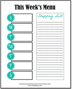 Weekly meal  planner & shopping list template for you to print. Save time & money!