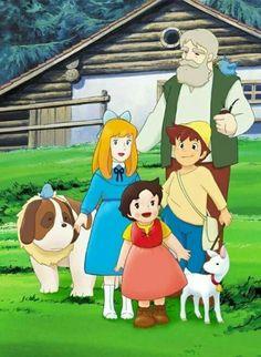 Heidi, el Abuelo, Clara, Pedro, Copito de Nieve, Niebla y Pichí.