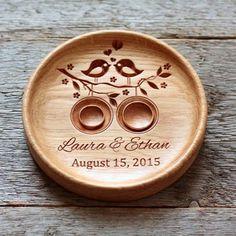 Handmade Custom Wood Wedding Ring Holder (Lovebirds), Ring Bearer Pillow Alternative, Ring Plate, Ring Dish - Eleturtle