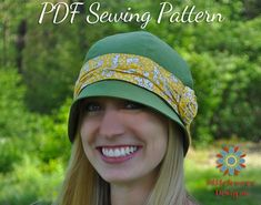 CLOCHE HAT PATTERN, Retro Vintage Flapper Hat Digital Pdf Sewing Pattern, Womens Hat Pattern, Tween-Adult Sizes, S110ADLT Azalea  Azalea S110ADLT Vintage Cloche Hat is an easy Digital PDF Sewing Pattern to make an adorable 1920s Flapper Style Hat with 4 sizes included to fit tweens to adults. Great for dressing up or down depending on your fabric choices. ~~~~~~~~~~~~~~~~~~~~~~~~~~~~~~~~~~~~~~~~~~~~~~~~~~~~~~~~~~~~~~~~~~~~~~~~~~~ This is a DIGITAL PDF SEWING PATTERN only, NOT a finished…
