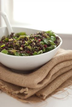 Pomegranate Quinoa Salad with crisp celery, protein-packed quinoa and potentially cancer-blocking pomegranate. More info on super foods here: http://www.cityofhope.org/superfoods. #cityofhope #superfoods #recipes