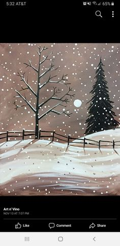 Easy Canvas Painting, Winter Painting, Winter Art, Diy Painting, Canvas Art, Christmas Canvas, Christmas Paintings, Christmas Art, Xmas