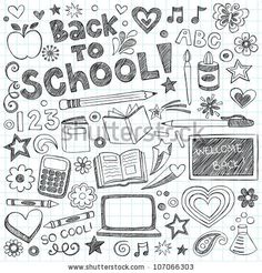 Back to School Supplies Sketchy Notebook Doodles with Lettering, Shooting Stars, and Swirls- Hand-Drawn Vector Illustration Design Elements on Lined Sketchbook Paper Background - stock vector