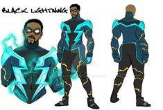 Black Lightning concept by Shy-Green on DeviantArt Black Cartoon Characters, Superhero Characters, Dc Comics Characters, Dc Comics Heroes, Dc Comics Art, Fun Comics, Superhero Suits, Superhero Design, Black Lightning Static Shock