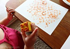 Simple Lego Stamped Pumpkin Craft for Kids - Crafty Morning