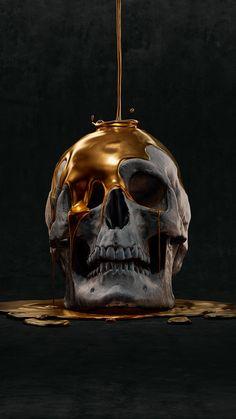 Yur weight in gold! Amoled Wallpapers, Skull Reference, Arte Black, Gold Skull, Skulls, Totenkopf Tattoos, Skull Artwork, Creation Art, Human Skull