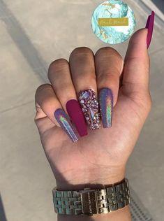 Nail Art Designs, Acrylic Nail Designs, Nails Design, Dope Nails, Glam Nails, Nails On Fleek, Baby Set, Nails After Acrylics, Gel Nails At Home