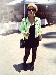 """Neon Dream  Name: Erica    Her style: """"Punk/street with pops of color. Right now I'm into neon accents, like this jacket.""""     Outfit Rundown:  Dress: Mink Pink from American Rag  Denim Jacket: Nastygal.com  Sunglasses: her boyfriend's  Handbag: Love Made  Shoes: DSW  Jewelry: Cast of Vices"""