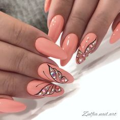 After reading so many nail art recommendations in the spring, have you found your favorite nail style? Come share my favorite romantic spring short nails today. New Nail Art Design, Gel Nail Designs, Nail Art Flowers Designs, Short Nails Art, Long Nails, Romantic Nails, Nails Today, Fire Nails, Butterfly Nail