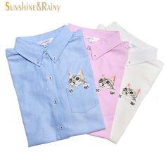 고품질 봄 가을 여성 블라우스 고양이 자수 긴 소매 작업 셔츠 여성 사무실 화이트 탑 셔츠 비즈니스