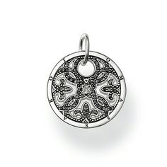 """THOMAS SABO Sterling Silver Glam & Soul Pendant """"ornament"""". Article number: PE432-051-11. Ornament -Pendant with eyelet -925 Sterling silver, blackened -black zirconia The arabesque disc is an absolute trend piece with its modern cut-outs in Sterling silver. Perfect when accented with onyx or mother-of-pearl discs of the SPECIAL ADDITION collection.  Size: 2.2 cm. USD 198"""