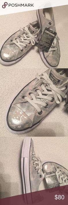 Converse Silver Metallic Suede Chucks 🌺Sale🌺 White Suede with Slashed Silver Metallic Suede Lowtop Chucks are New Without Box. Have metal stud trim along back seam as well. Converse  Shoes Athletic Shoes