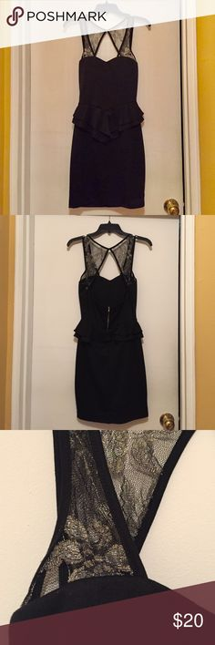 Black Peplum Dress Black peplum dress with sheer gold floral straps. Zipper on back. Excellent condition! Dots Dresses