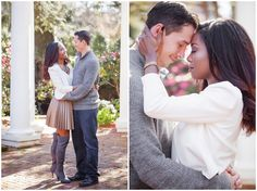 Cute couple with romantic and sweet natural engagement photos at elegant Duke mansion in Charlotte nc by North Carolina wedding photographer Casey Hendrickson photography www.caseyhphotos.com perfect for spring