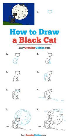 Fall Drawings, Halloween Drawings, Animal Drawings, Cat Drawing Tutorial, Drawing Tutorials For Kids, Art Tutorials, Drawing Ideas, Black Cat Drawing, Halloween Chalkboard