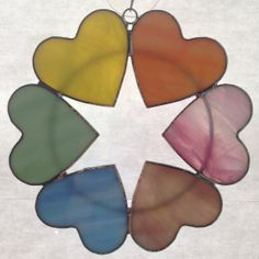 Rainbow Heart Wreath in Stained Glass by CustomStainedGlassNC, $25.00