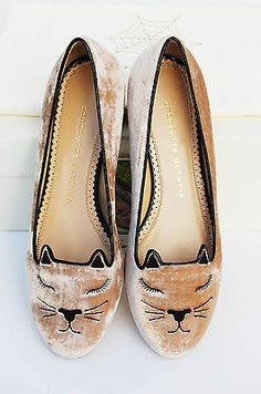 Charlotte Olympia KITTY Velvet Skimmer Flats Mink. Very cute little cat lady pumps!