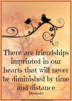 Dodinsky ~ There are friendships imprinted on our hearts that will never diminish by time and distance.