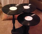 3-Tiered Vinyl Record Album Side Table made from Vintage Parts