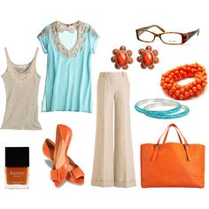 Orange accent outfit! love it