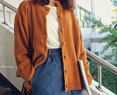 orange cardigan, style, fashion, denim skirt, blouse, simple, autumn