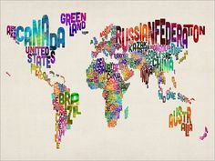Typographic Text Map of the World Map Art Print 18x24 von artPause