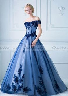 Tulle Prom Dress Ball Gown Off-The-Shoulder Long/Floor-Length With Appliqued!#Stacees#PromDress