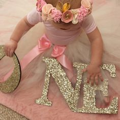 ONE Sign First Birthday Sign in Glitter  Wooden ONE Letters