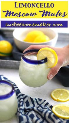 Limoncello Moscow Mules - SueBee Homemaker - - Limoncello Moscow Mules are a fun twist on the classic mule. Substitute fresh lemons for limes, and add some limoncello. So refreshing for warm summer nights! Bar Drinks, Cocktail Drinks, Cocktail Recipes, Alcoholic Drinks, Classic Vodka Cocktails, Beverages, Fun Cocktails, Limoncello Cocktails, Drinks With Lemoncello