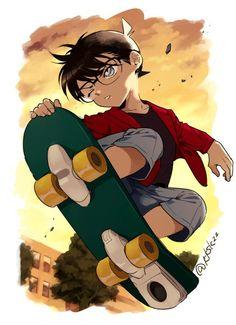 You and ur skate board both is just awesome Dc Anime, Real Anime, Anime Demon, Conan Comics, Detektif Conan, Magic Kaito, 2560x1440 Wallpaper, Detective Conan Shinichi, Detective Conan Wallpapers